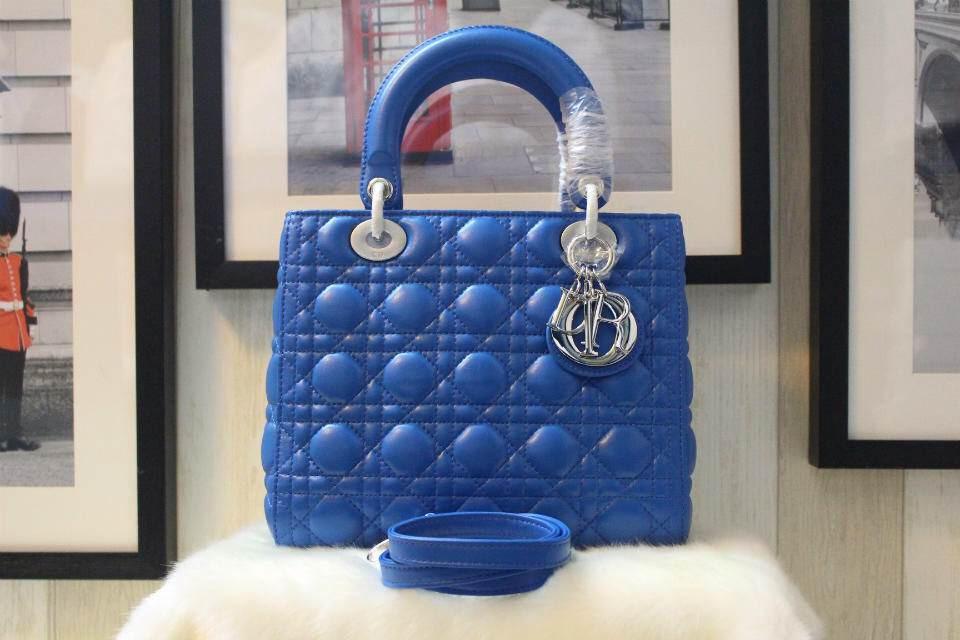 DIOR迪奥进口羊皮五格戴妃包 银扣蓝色原版皮 Dior金属字母配饰