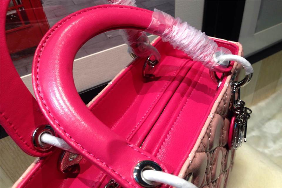 DIOR迪奥五格银扣戴妃包 进口羊皮 粉色拼红色