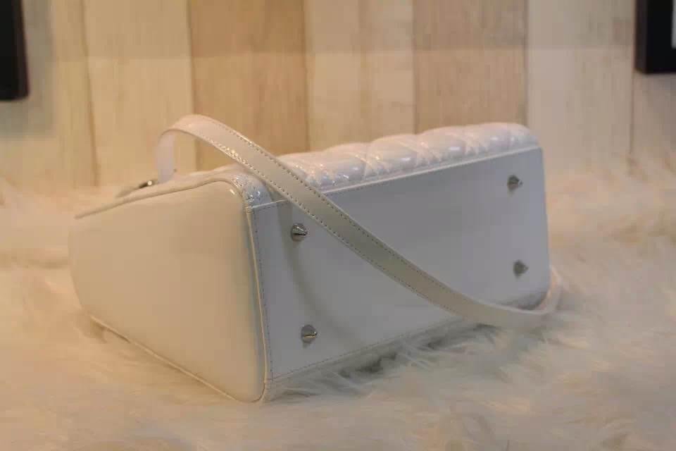 DIOR迪奥44551漆皮戴妃包 银扣白色实拍 DIOR女包包