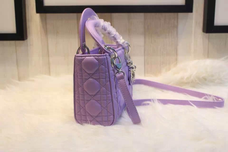 DIOR紫色三格羊皮女包 进口羊皮银扣手提包 时尚大牌戴妃包