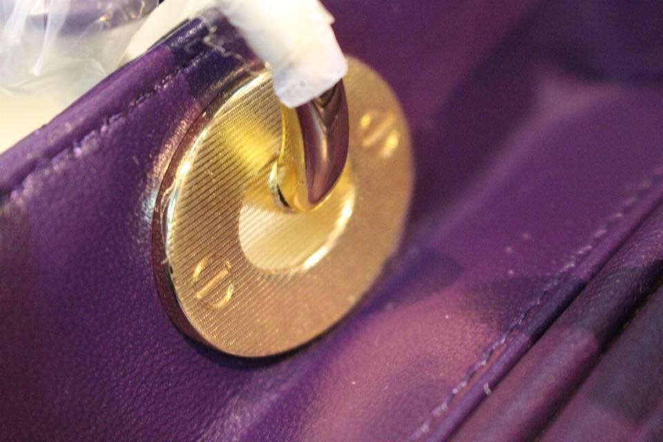 DIOR迪奥紫色五格戴妃包 高级定制五金金扣 金属字母配饰