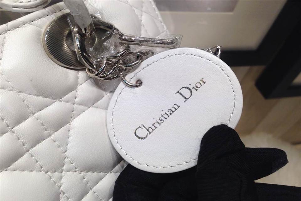 DIOR迪奥白色银扣戴妃包 五格原版羊皮戴妃包 手提斜挎包