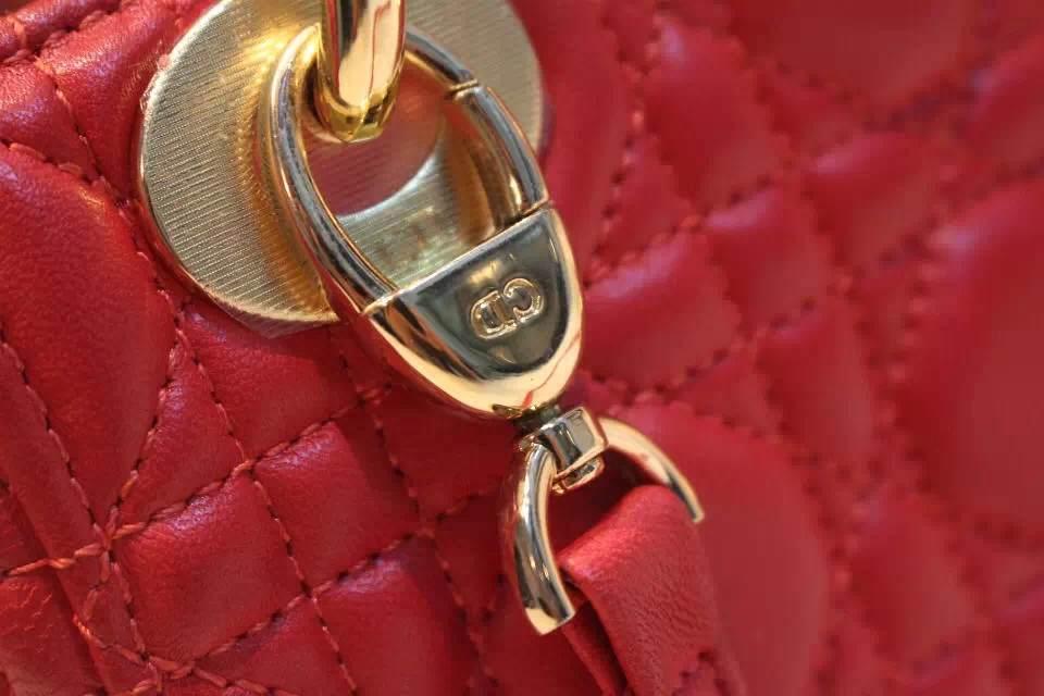 DIOR迪奥深红色金扣三格戴妃包 Dior金属字母配饰 进口羊皮