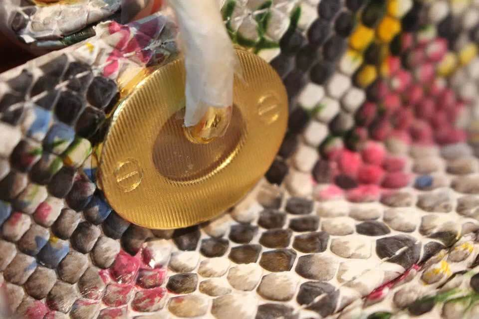 DIOR迪奥手绘戴妃包 非洲大蟒蛇皮 高级定制五金金扣