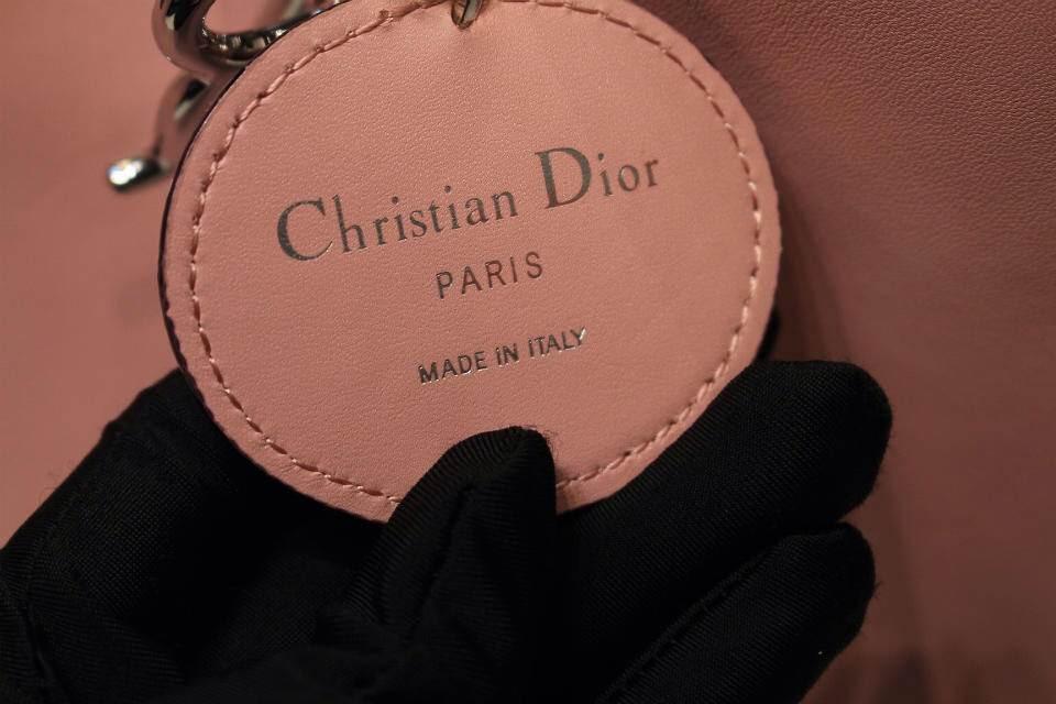 DIOR迪奥VIP粉色银扣女包 进口钢镀K金银扣 光滑面小牛皮里羊皮
