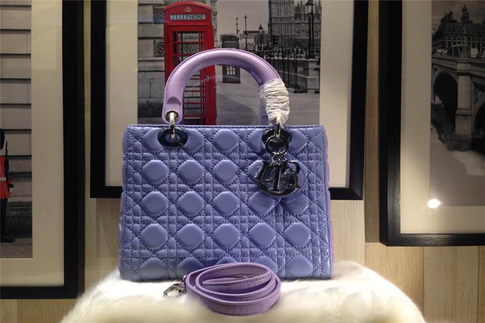 DIOR迪奥金扣五格戴妃包 进口羊皮 紫蓝拼粉紫色