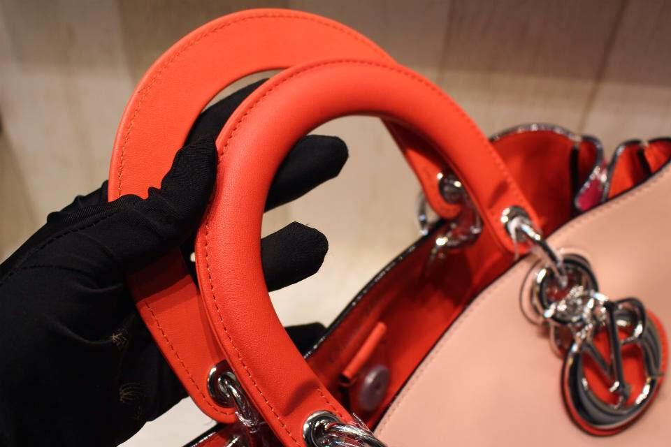 DIOR迪奥VIP粉色拼红色 进口钢镀K金银扣 光滑面小牛皮里羊皮