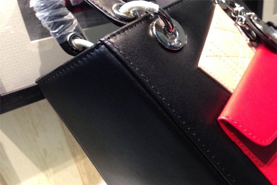 DIOR迪奥银扣女包 黑色拼红色杏色 南非进口牛皮