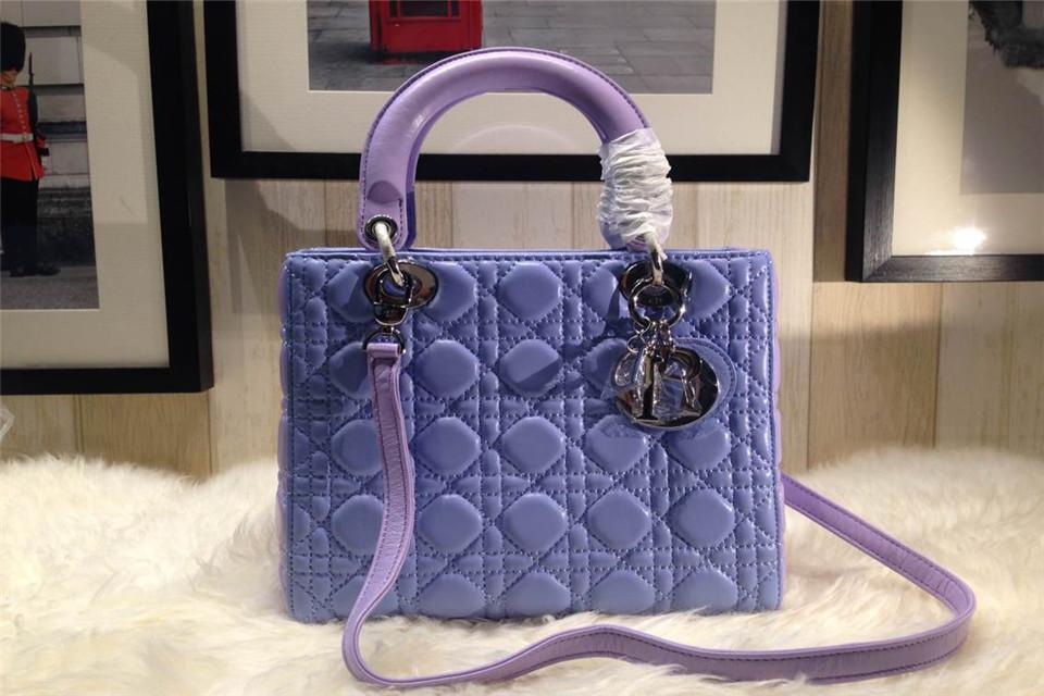 DIOR迪奥拼色五格戴妃包 原版羊皮 蓝色拼紫色