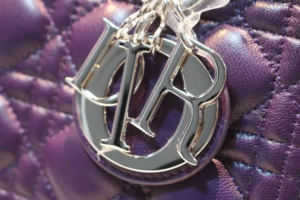 DIOR迪奥紫色五格戴妃包 上好羊皮 高级定制五金银扣