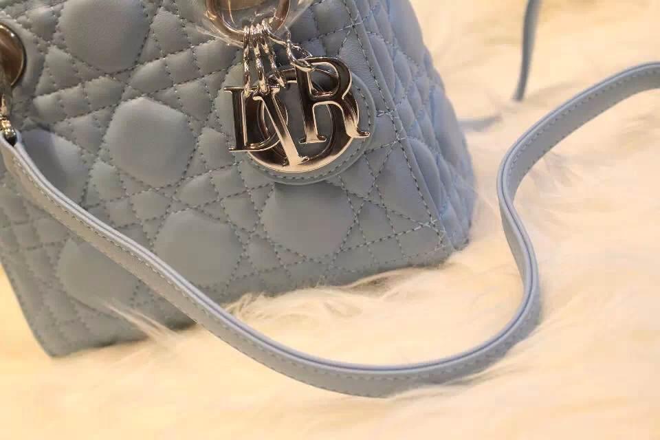 DIOR迪奥灰蓝色三格银扣戴妃包 进口羊皮皮背带 金属字母挂饰