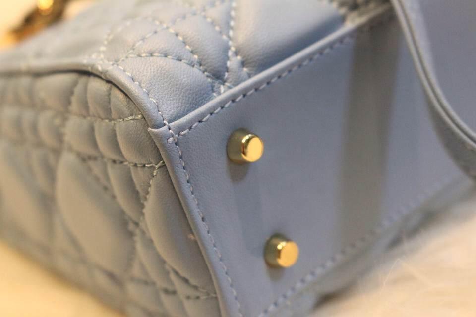 DIOR迪奥蓝灰色三格金扣戴妃包 皮肩带斜挎女包 进口原版真皮