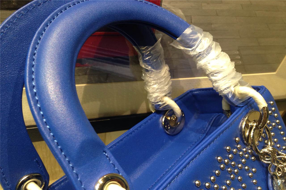DIOR迪奥电音蓝银扣女包 顶级原版皮配原版五金钉 Dior金属字母配饰