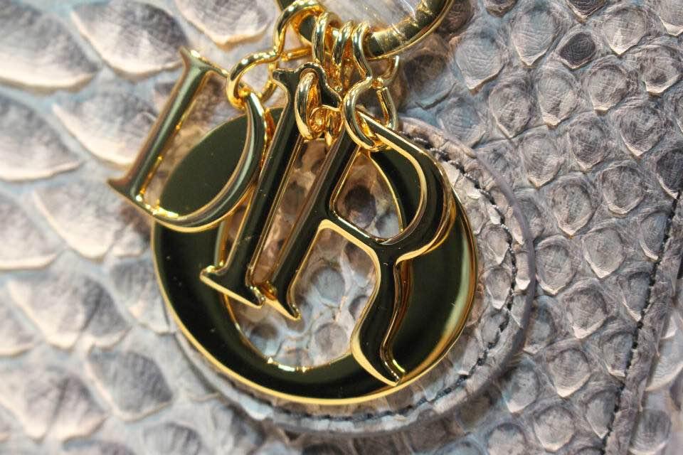 DIOR迪奥银色戴妃包 非洲大蟒蛇皮 高级定制五金金扣