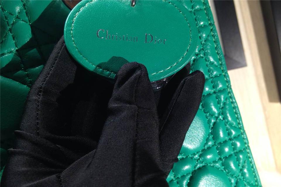 DIOR迪奥绿色五格戴妃包 银扣进口羊皮女包 金属字母配饰