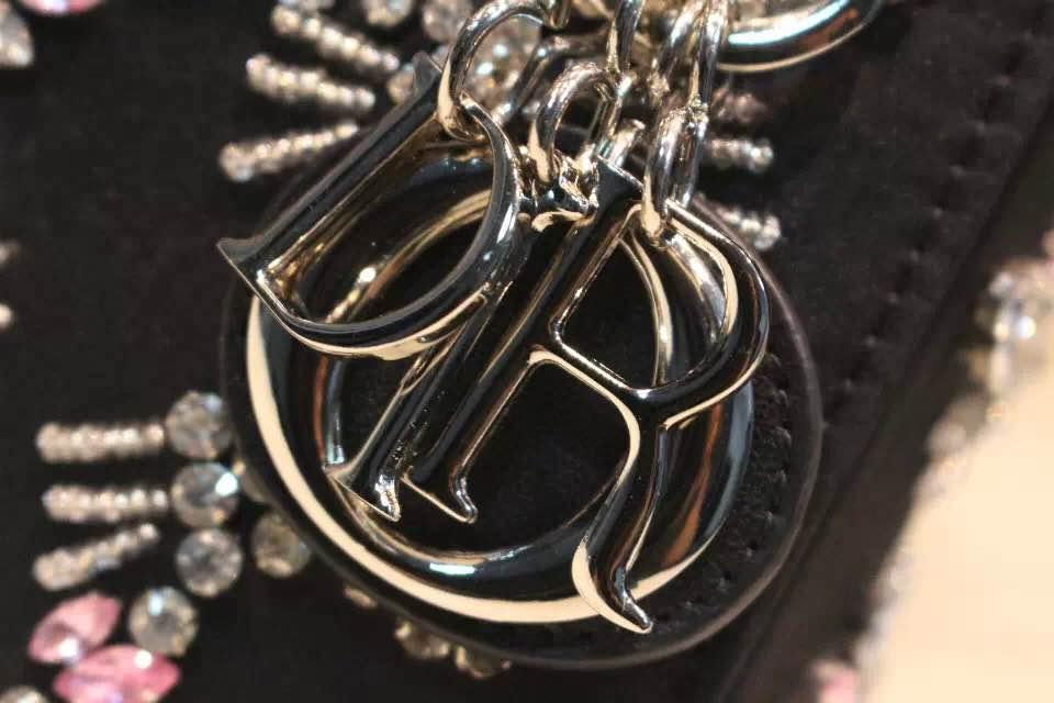 DIOR迪奥戴妃包 非洲大蟒蛇皮 高级定制五金银扣 黑色镶钻