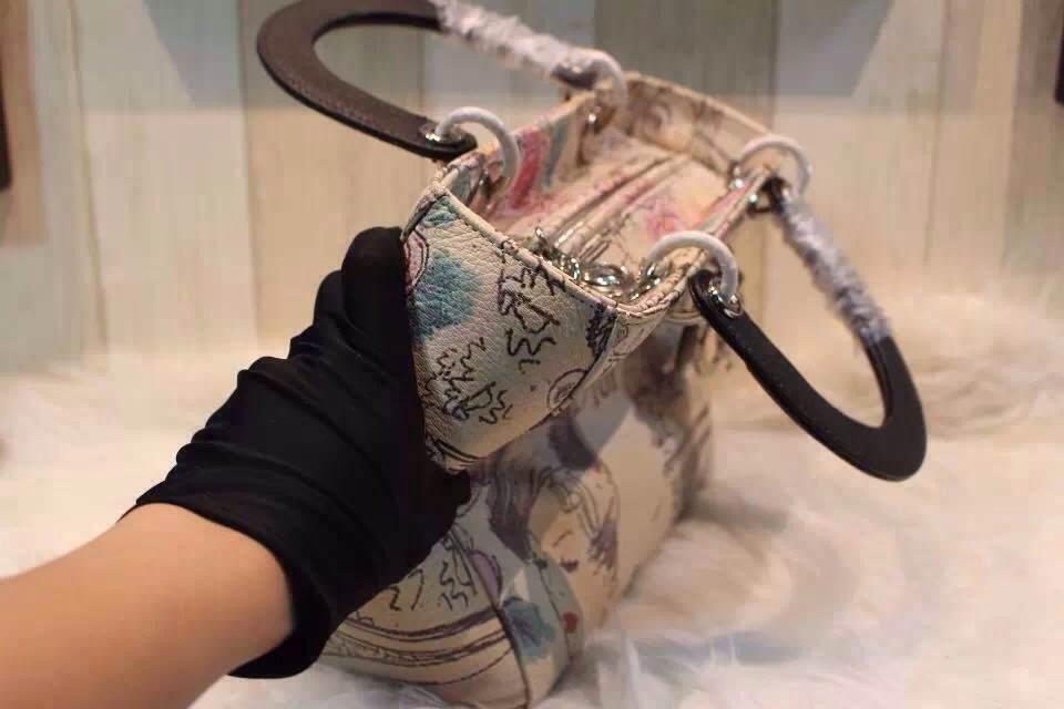 DIOR迪奥南非大蟒蛇戴妃包 高级定制五金银扣 金属字母配饰