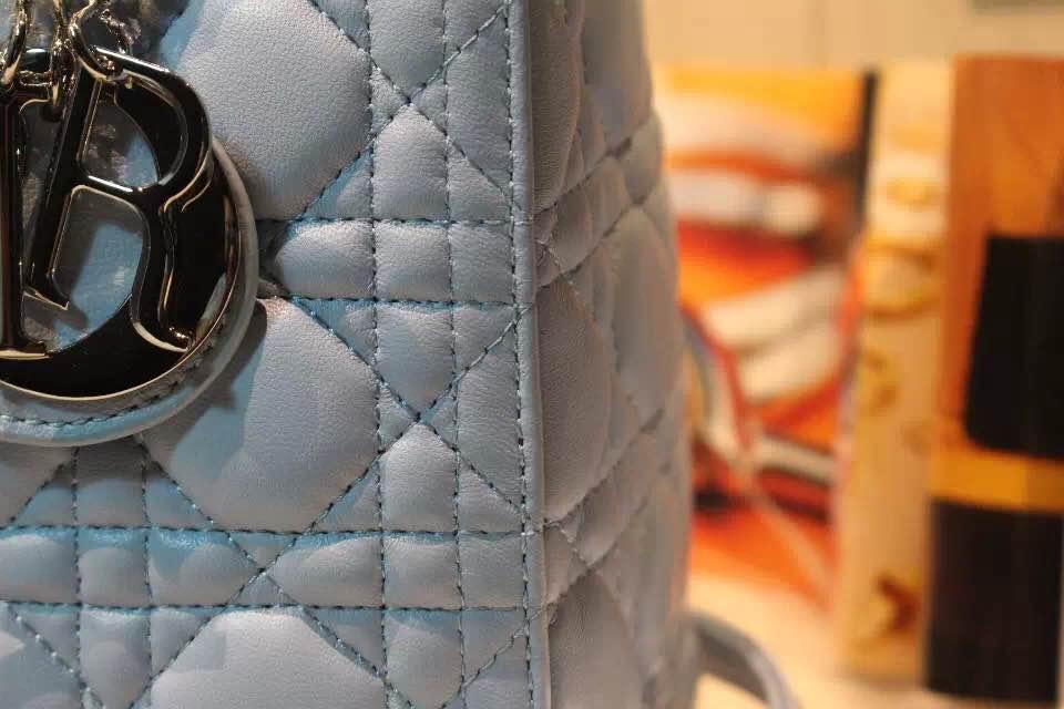 DIOR迪奥蓝色五格戴妃包 上好羊皮 高级定制五金银扣