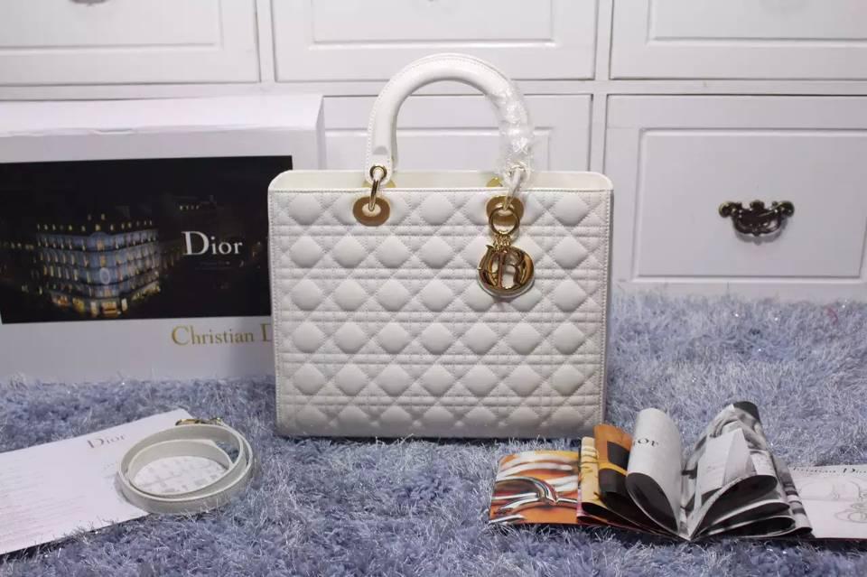 一件代发货 迪奥Dior白色漆皮戴妃包七格金扣 高档女款手提包