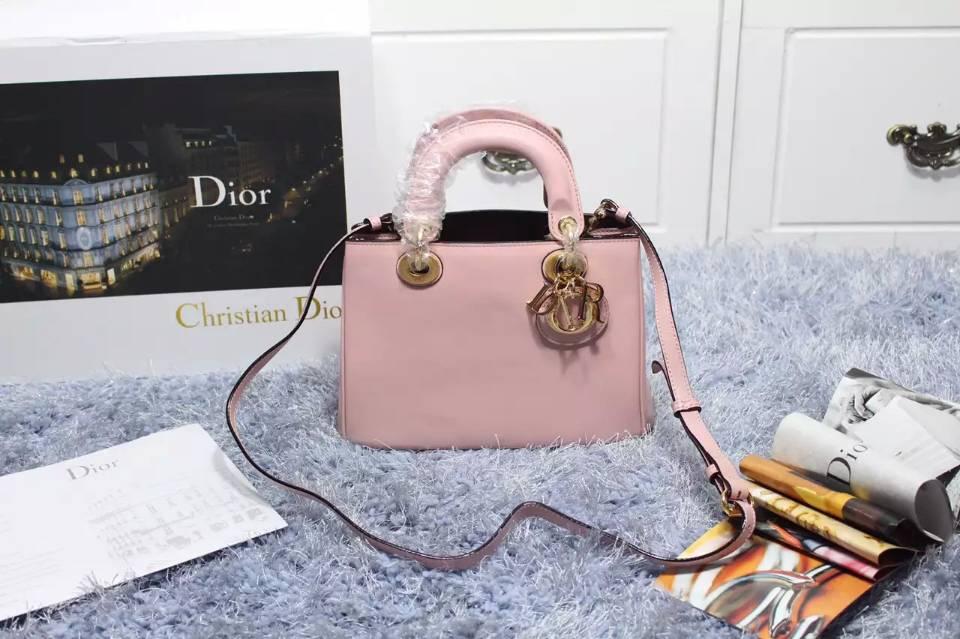 一件代发货 Dior Diorissimo Vip专属 迪奥胭脂粉色原版顶级平纹牛皮女包 小号23CM