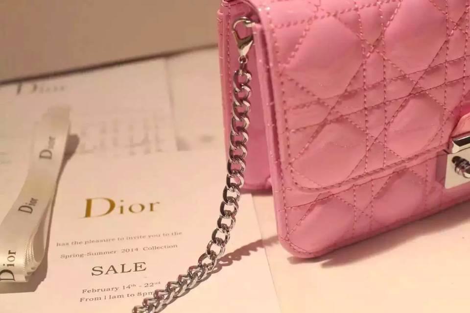 21CM原版顶级漆皮迪奥MISS DIOR MINI链条单肩包 高档粉色真皮女包