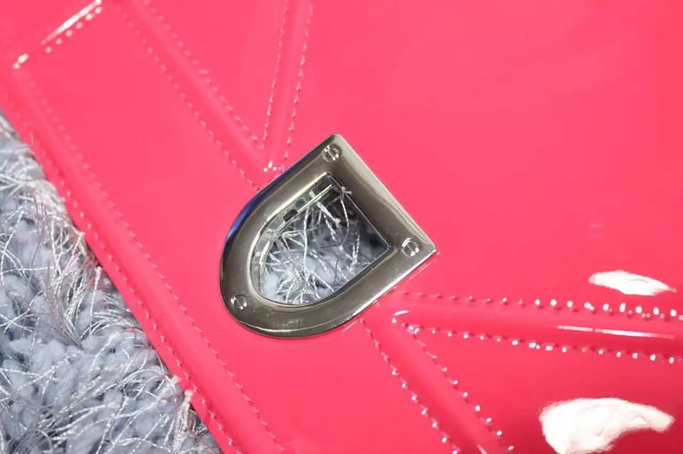 诚招代理 DIOR迪奥高仿包包 玫红色原版顶级漆皮链条包 女士新款单肩斜挎包