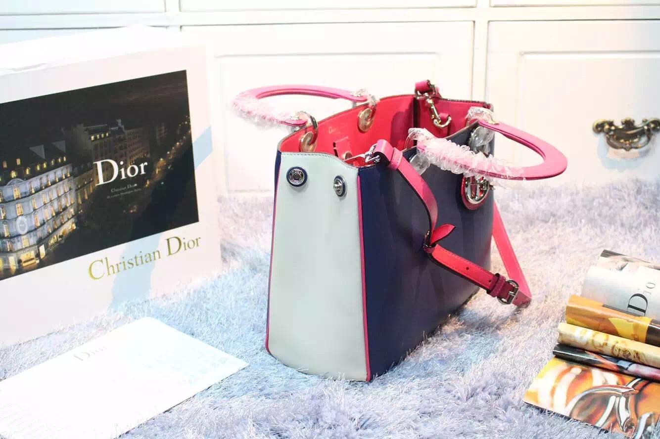 高仿迪奥女包 Dior Diorissimo 深蓝拼浅蓝拼玫红色原版平纹牛皮手提包 中号32CM