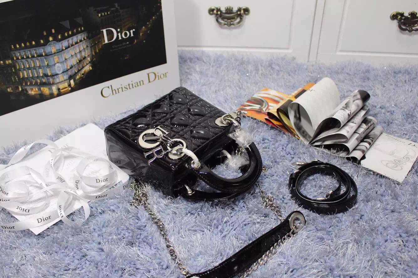迪奥Dior 2015新款女包 黑色原版顶级漆皮银扣戴妃包三格 双肩带