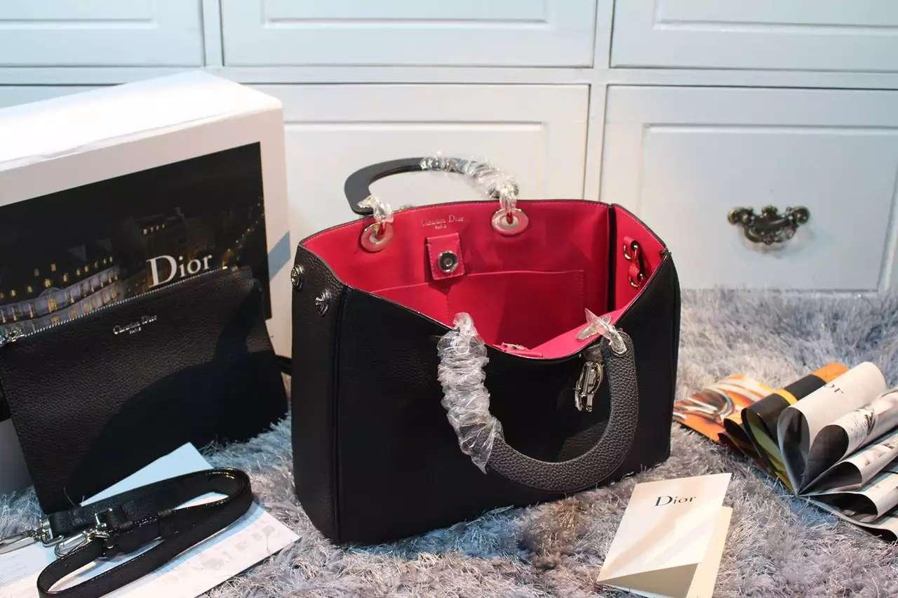 一件代发货 DIOR迪奥黑色进口顶级荔枝纹牛皮 Dior Diorissimo VIP中号女包32CM