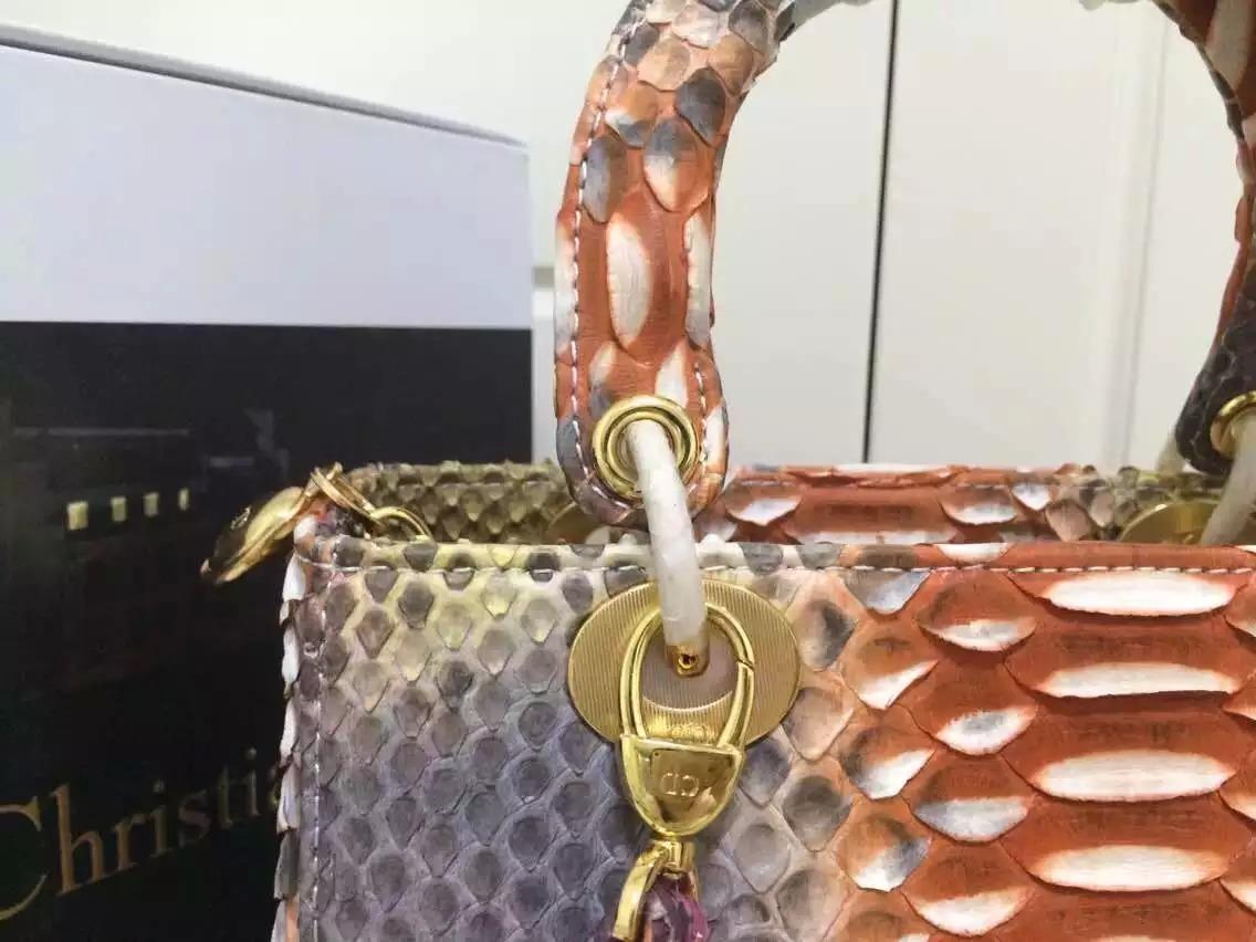 高档奢侈品女包 DIOR迪奥2015新款彩色进口非洲蟒蛇皮戴妃包中号24CM