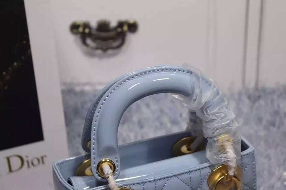 时尚新款女包 Lady Dior迪奥戴妃包三格浅蓝色顶级漆皮金扣 附带双肩带
