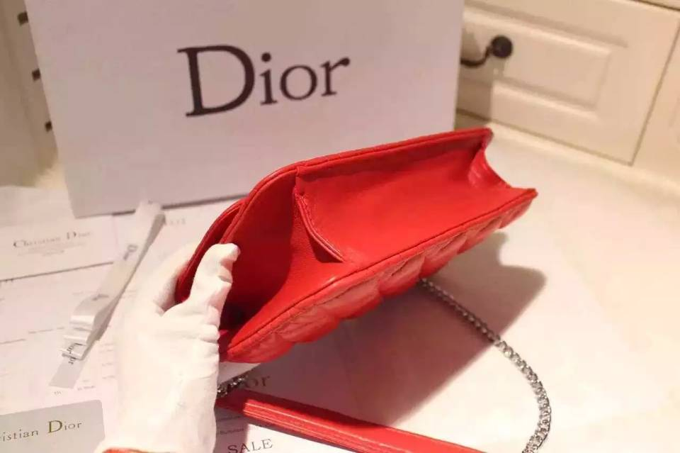 厂家直销 Dior迪奥MISS DIOR MINI 大红色进口原版羊皮链条单肩包21CM
