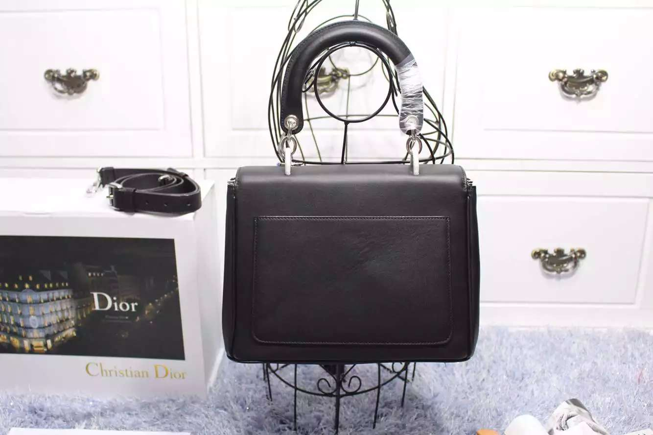 迪奥2015新款女包 Dior小蜜蜂黑色内拼粉色原版顶级牛皮 明星款手提包斜挎包27CM