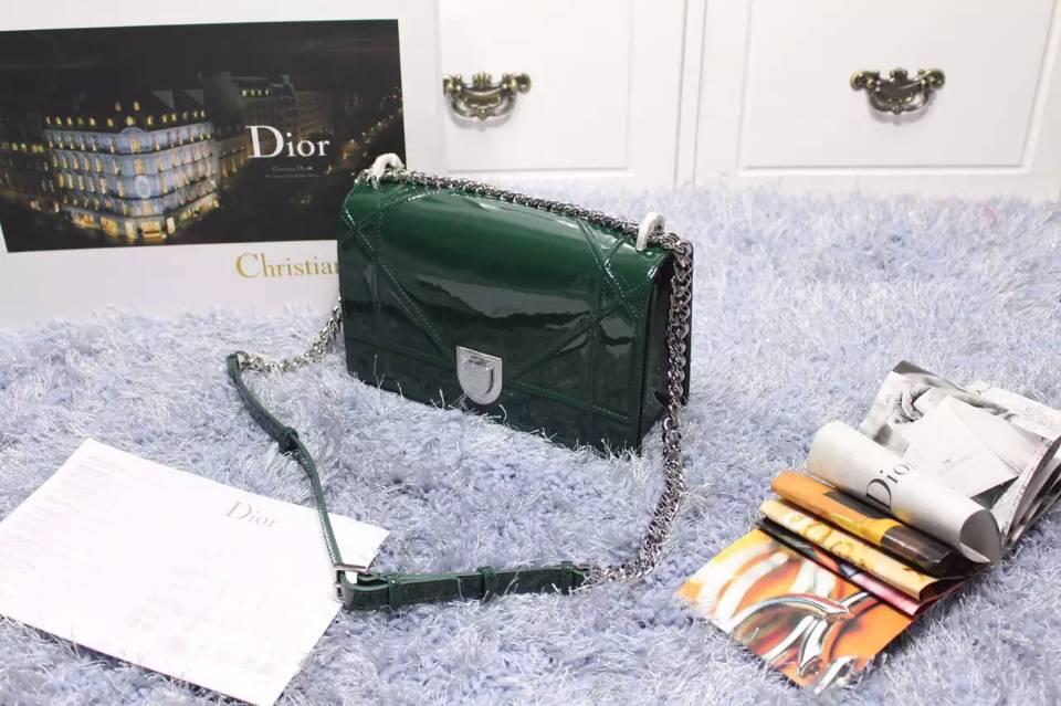 2015新款女包 迪奥DIOR专柜同步原版顶级漆皮链条斜背包单肩包 墨绿色
