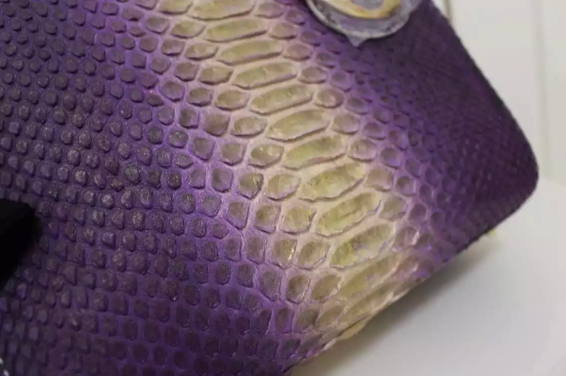 高档女包批发 DIOR迪奥紫炫金进口顶级非洲蟒蛇皮戴妃包 女士手提单肩包