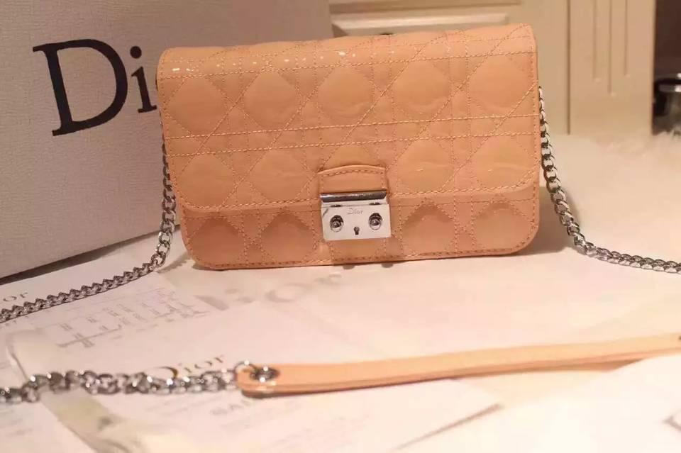 厂家直销 迪奥Dior杏色原版顶级漆皮 MISS DIOR MINI链条单肩包斜挎女包21CM