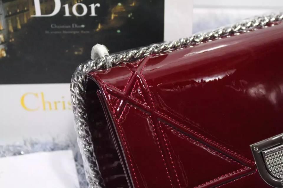 DIOR迪奥新款链条单肩斜挎包 枣红色漆皮百搭时尚女包