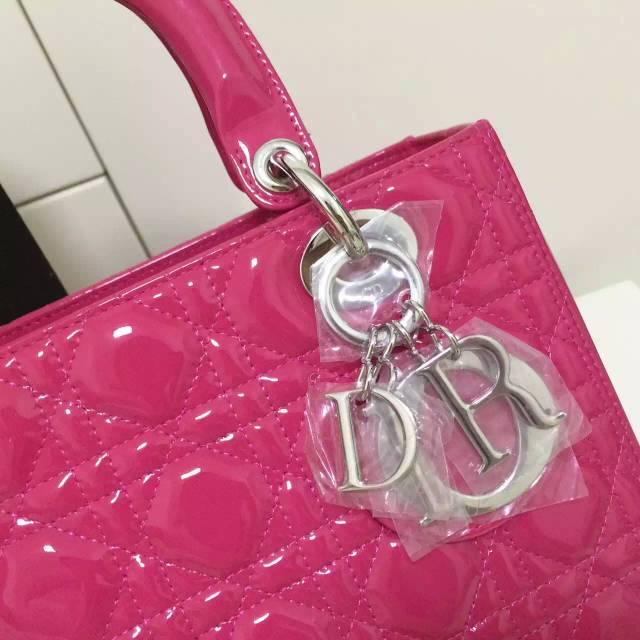 迪奥Dior女包批发 玫红色原版顶级漆皮戴妃包五格银扣 时尚手提斜挎包