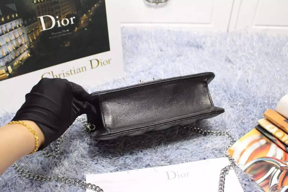 迪奥原版皮女包 MISS DIOR MINI黑色银扣顶级羊皮链条单肩包21CM