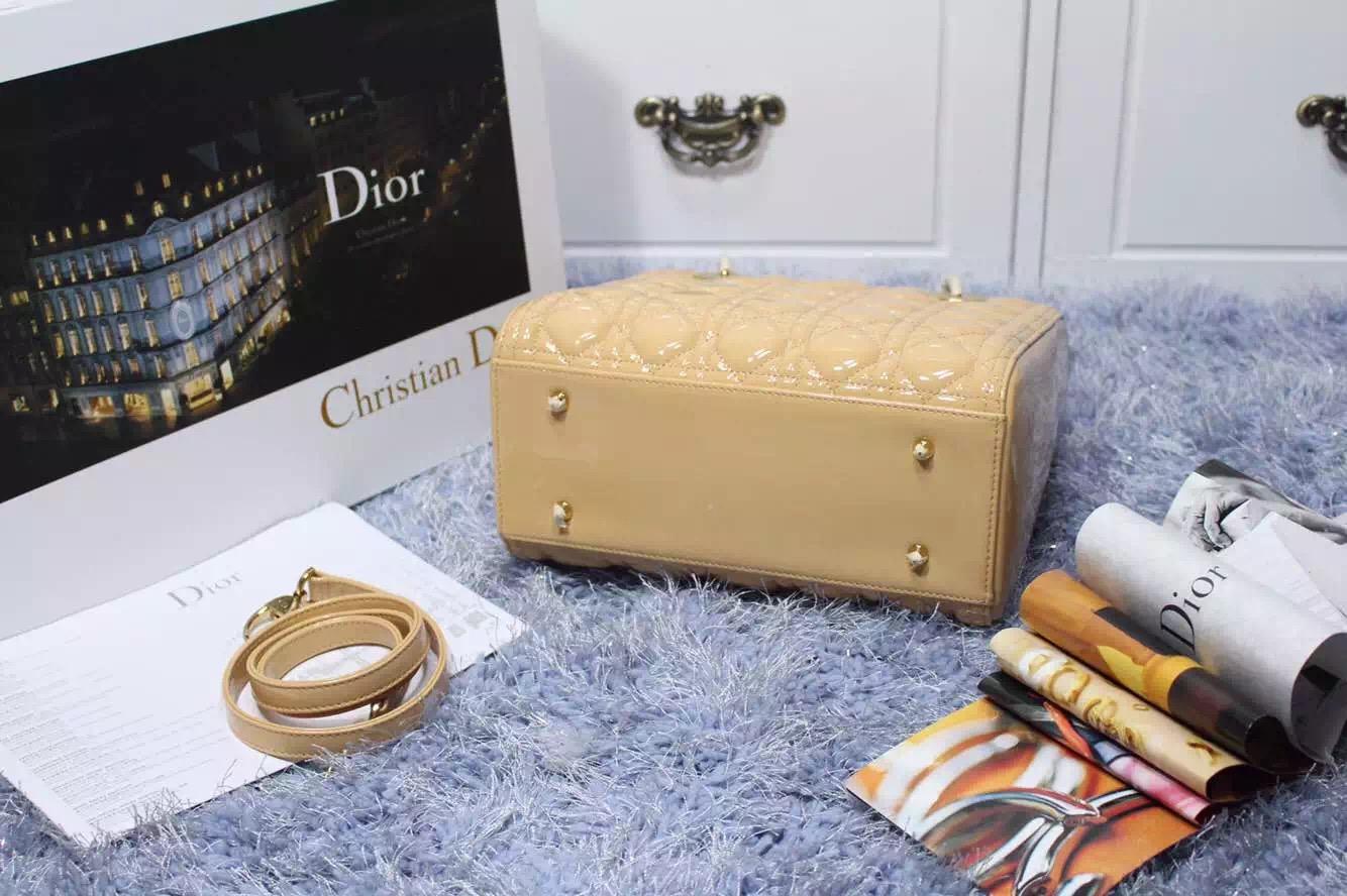 诚招代理 Lady Dior迪奥经典戴妃包五格杏色原版漆皮金扣 高档女士手提单肩包