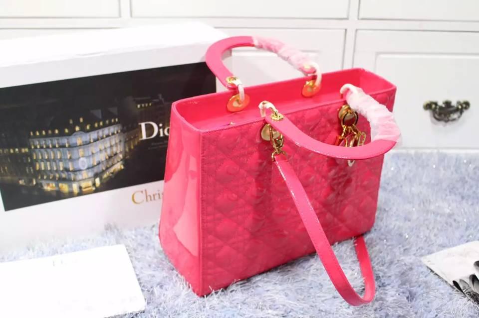 广州包包批发 迪奥Dior玫红色金扣原版顶级漆皮七格戴妃包 厂家直销