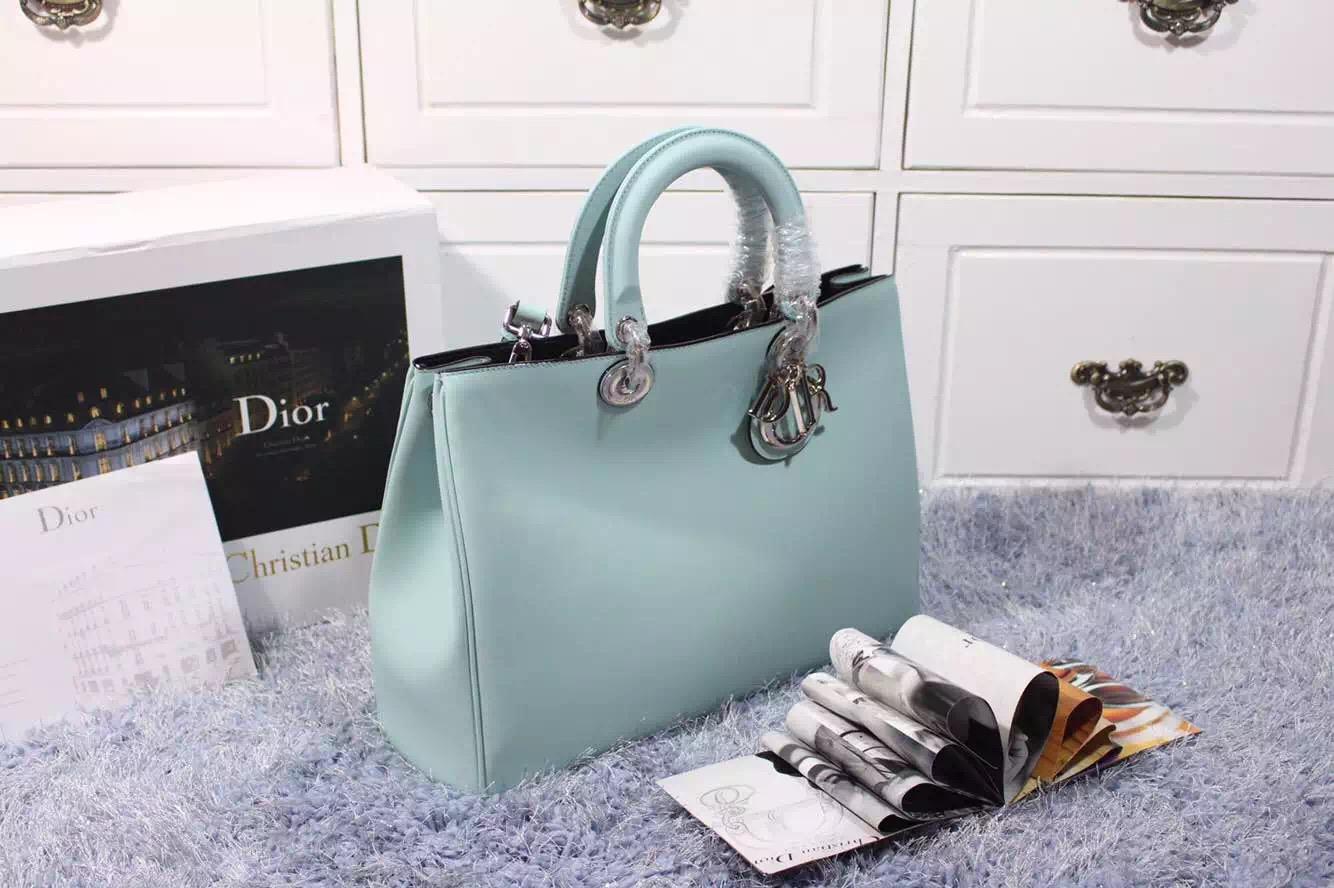 高档女包批发 迪奥Dior Vip系列浅蓝色平纹牛皮女士手提单肩包 大号38CM