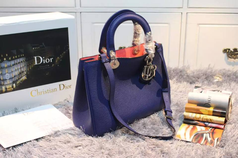 广州迪奥女包批发 蓝色顶级荔枝纹牛皮 Dior Diorissimo Vip中号32CM