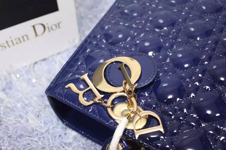 迪奥Dior七格戴妃包 电光蓝顶级漆皮金扣 百搭经典女包手提大包