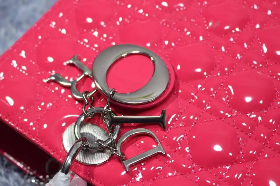 高档真皮女包 DIOR迪奥七格戴妃包玫红色原版漆皮银扣 新款手提单肩女包32cm
