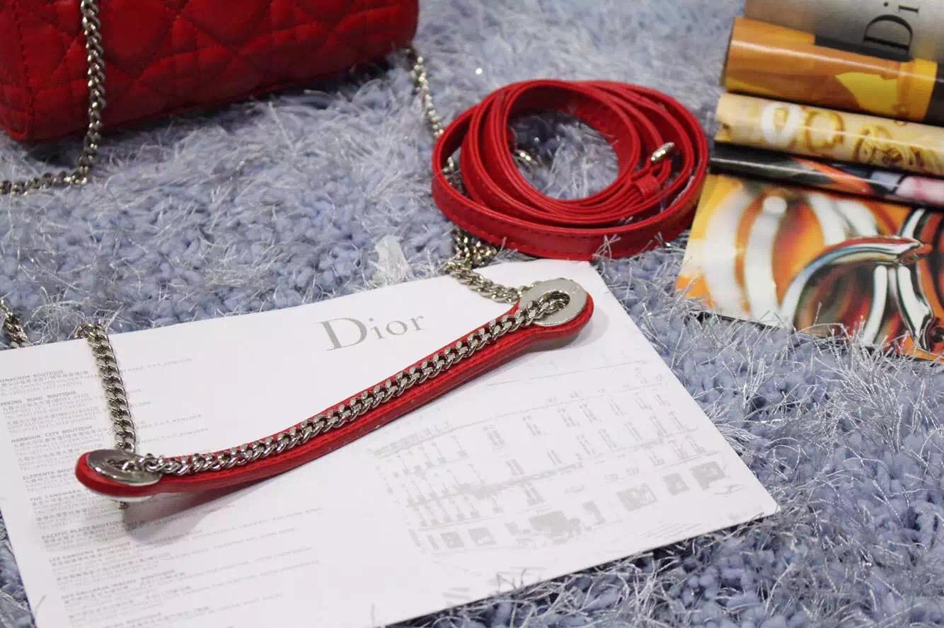 迪奥包包批发 Dior戴妃包双肩带三格原版顶级进口羊皮红色 银扣
