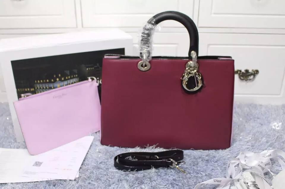迪奥Dior Diorissimo Vip系列 枣红拼樱花粉拼黑色原版顶级平纹牛皮女包 大号38CM