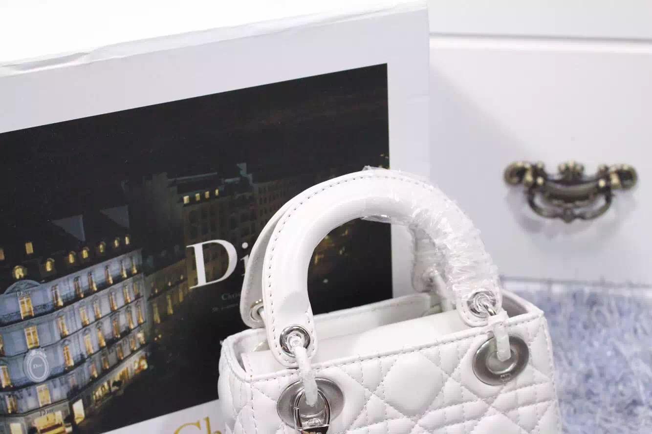 高档女包批发 迪奥Dior白色原版顶级进口羊皮戴妃包三格银扣 配两条肩带