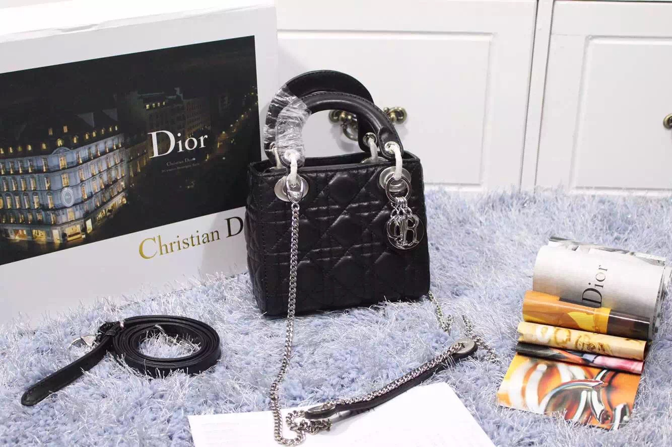 厂家直销 迪奥Dior进口顶级原版羊皮 三格戴妃包带两条肩带 银扣