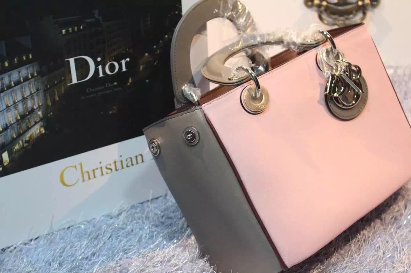 厂家直销 迪奥Dior Diorissimo Vip系列小号23CM胭脂粉拼灰色女士手提包单肩包